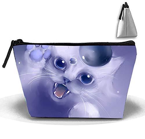 Fair Kitty Cosmetic travel Bag, Waterproof Toiletry Clutch Pouch Beach Trapezoid Handbag Organizer -
