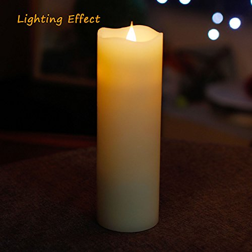 Vela LED Sin Llama, Vela Simplux LED Mecha y Llama Bailando 3D Llama Sin Fuego, Cera Auténtica, Velas Electrónicas Con Temporizador, De Pilas, Marfil, 7,6x12,7 cm(3x9 Pulgadas)