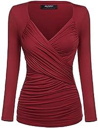 c6e025944637 Zeagoo Damen V-Ausschnitt Langarmshirt Tunika Bluse Obertail T-Shirt mit  Rüschen