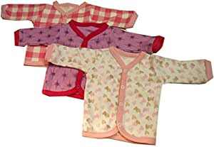 Cotton Front Open Full Sleeves vest- Tshirt -Multi Cute Prints Set Of 3 (for new born)