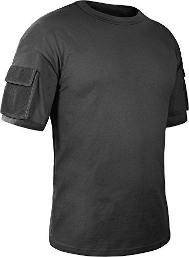 Herren Tactical T-Shirt mit Klett-Ärmeltaschen Farbe Schwarz Größe L (Shirt Tactical)