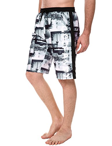 COOFANDY Herren Shorts Sommer Freizeit Hose Urlaub Hawaii Badeshorts Strandmode Schwarz und Weiß