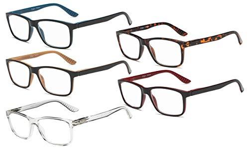 Eyekepper 5 Pares Gafas De Lectura Marco Rectangular Clásico Hombre Mujer Bisagras De Primavera (Uno para cada color, 0.75)