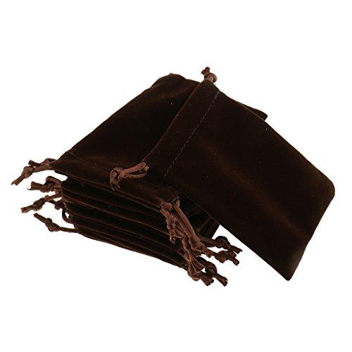 MagiDeal 10 Pezzi Borsa di Gioielli in Velluto Sacchetto Caramelle Per Viaggio Accessori Regalo Matrimonio Marrone - 8 x 10cm, Marrone