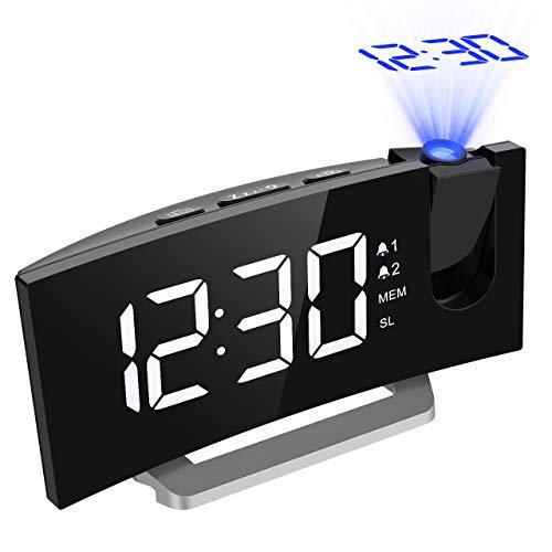 Mpow Radio Réveil à Projection FM avec Double Alarmes, Horloge Numérique USB, Fonction Snooze, Minuteur de Mise en Veille, 12/24h, Grand Ecran LED avec Gradateur, Blanc (Améliorée)