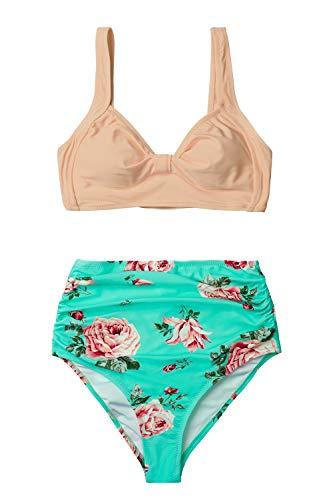 CUPSHE Pfirsich Und Tiffany Blaue Blumen High Waist Bikini Set, S