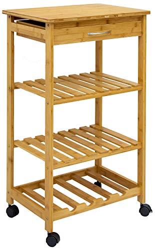 DuneDesign Bambus Küchenwagen 50x37x85 Servierwagen Holz Rollregal Küchenregal