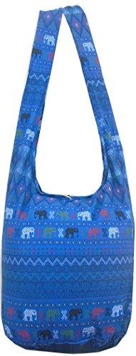 NaLuck Vintage Elephant Hippie Boho Hobo Sling Cross Body Schulter Messenger Bag, Blau - navy - Größe: Large (Apparel Elephant)