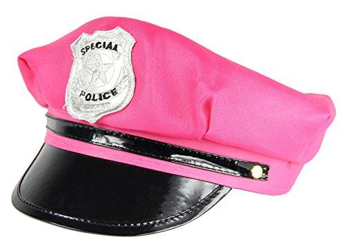 Foxxeo Pinke Polizei Mütze für Damen Police Cap Kappe zu Karneval Fasching und Polizeimütze Junggesellenabschied