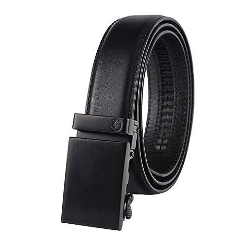 NPET Herren Automatik Gürtel mit Automatikschließe Vollnarbenleder Echtes Leder- 3,5cm Breite 120-140cm Länge