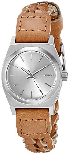 Nixon Women's A5092082 Small Time Teller Leather Analog Display Japanese Quartz Brown Watch