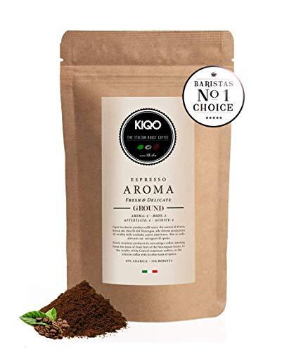 KIQO Aroma Espresso aus Italien | in schonenden Kleinstchargen geröstet | säurearm und bekömmlich...