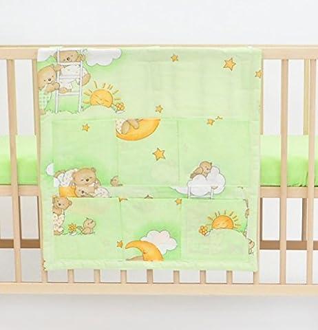 Coffre avec les poches env.60x60 parure de lit literie pour bébé enfant (dessin: nounours dans le ciel_vert)