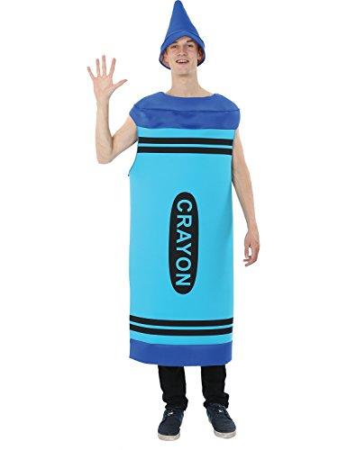 Herren Blau Crayon Färbung Color Gruppe Junggesellenabschied Kostüm (Erwachsene Blau Crayon Kostüme)