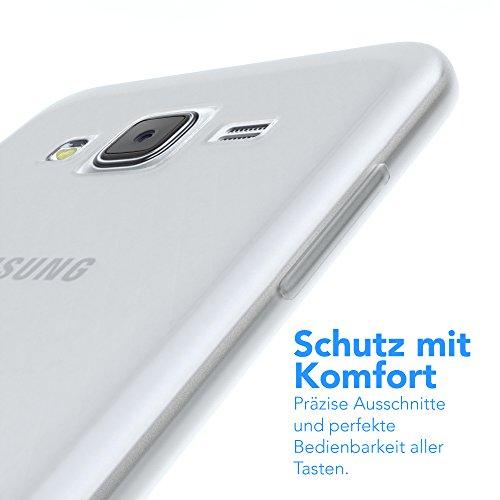 Samsung Galaxy J5 (altes Modell) Hülle - EAZY CASE Ultra Slim Cover Handyhülle - dünne Schutzhülle aus Silikon in Transparent Matt Transparent / Weiß
