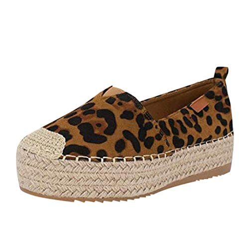 MuSheng Damen Schuhe Sandalen Slippers Espadrilles mit Plateau Bast Profilsohle Hollow Leopard Platform Freizeitschuhe Einfarbig Atmungsaktiv Wedge Espadrilles Blumen Hausschuhe -