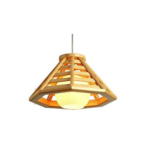 BESPD Japanische Einfache Kronleuchter kreative Holz- Lampen Massivholz Lampen Durchmesser 50 cm Led (Decke-laterne Japanische)