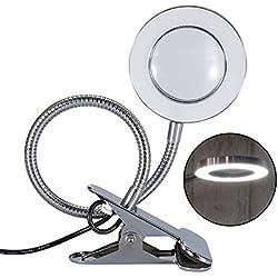 Sonew Lámpara Lupa LED, Lámpara de Escritorio portátil estética Blanca con Iluminación para Cuidado de la Piel Lupa de Belleza Tatuaje para Uso en salón