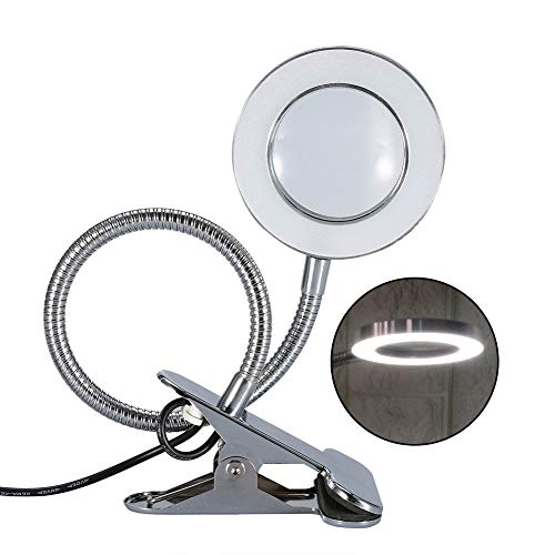 LED Tattoo Lampe, tragbare Leselampe 2.5X Lupe USB Salon Tischleuchte mit Clip, ideal für Augenbrauen Makeup Wimpernverlängerung, Uhrmacher - Lupe Make-up