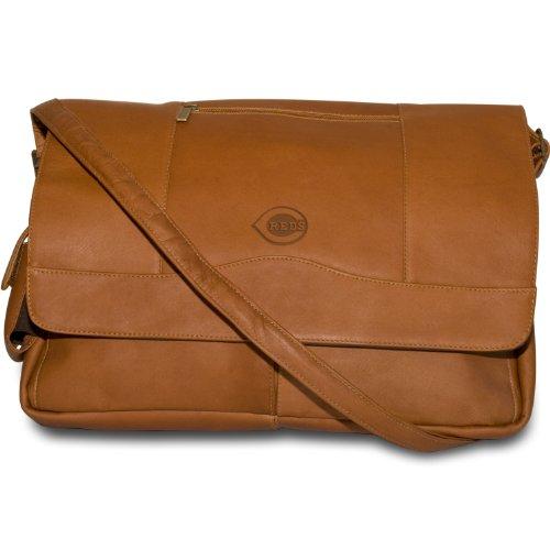 MLB Tan Leder Laptop Messenger Bag, Herren, PA-156-T-CIN, Cincinnati Reds, Einheitsgröße