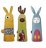 Hillento 3 pacco animale bello astuccio in tela con cerniera penna custodia cosmetica sacchetto sacchetto studenti materiale scolastico di cancelleria portamatite portamonete moneta organizzatore