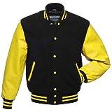 Warrior Gears® Classic Hybrid Varsity Jacket University Letterman Bomber Jacket- Pure Wool Body & Real Leather Sleeves