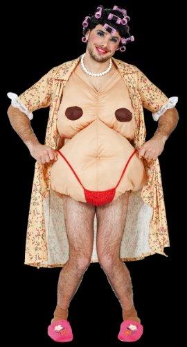 Karneval Herren Kostüm Hausfrau Kittel + Body als Nackte verkleiden