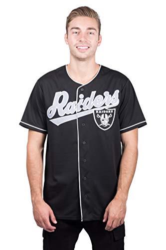 Icer Brands NFL Herren Baseball-T-Shirt Oakland Raiders, Knopfleiste, Größe L, Schwarz