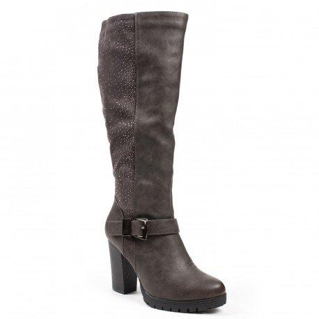 Ideal Shoes - Bottes bimatière à talons et strass Imane Gris