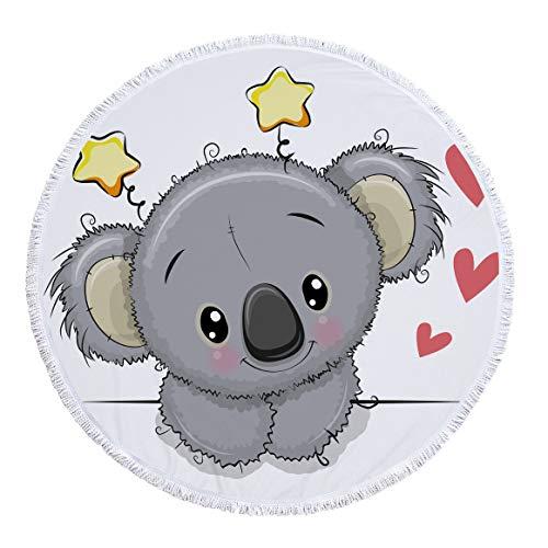 BBQBQ Gedrucktes rundes Strandtuch Badetuch Tier Koala Serie Schal -09 150 * 150cm