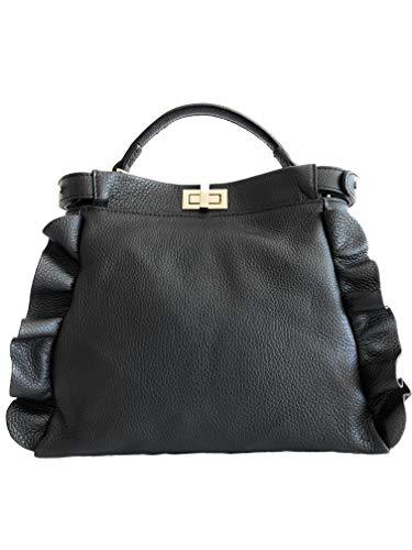 MASSIMA BARONI Damen Handtaschen Modell Cosima Handtasche Schultertasche Leder Handtasche Neueste Trend Hergestellt in Italien (Schwarz) - Gucci Authentischen Handtasche Tasche