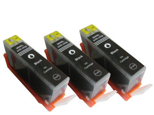 komp. Druckerpatronen mit Chip 3 x Schwarz Ersatz für HP364BK XL HP Deskjet 3070 3070A 3520 / HP officejet 4620 4622 Serie / HP PhotoSmart 5510, 5515-Serie 5520-Serie 6510-Serie 6520-Serie 7510-Serie 7520-Serie / HP PhotoSmart D5460 B8550 B010-Serie B109-Serie B110-Serie B210-Serie