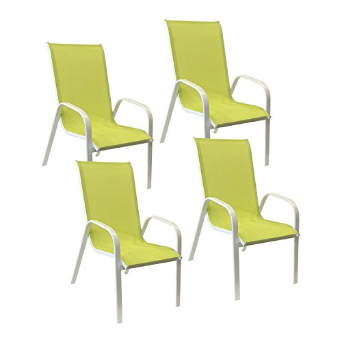 Happy Garden Lot de 4 chaises Marbella en textilène Vert - Aluminium Blanc