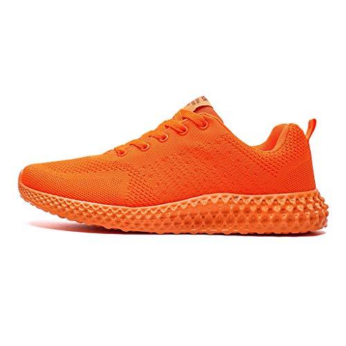 HDUFGJ Sneaker Herren Damen Fliegendes Weben Laufschuhe Outdoor-Sportschuhe Freizeitschuhe Faule Schuhe Turnschuhe Fitnessschuhe rutschfeste Bequem Leichtgewicht Luftkissen38 EU(Orange)