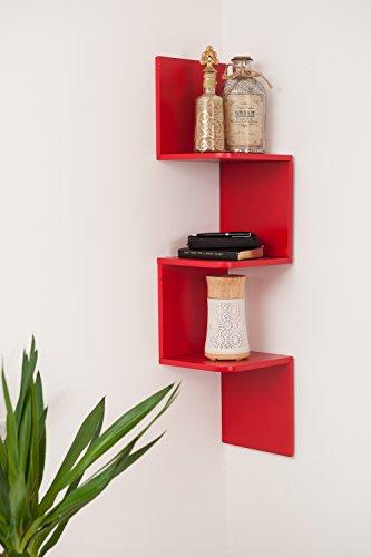 Durevole mdf zigzag angolare da parete in legno galleggiante scaffale ripiani storage rack, red, 3 ripiani