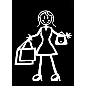 My Stick Figure Family Familie Autoaufkleber Aufkleber Sticker Decal Mutter mit Einkaufstaschen F13