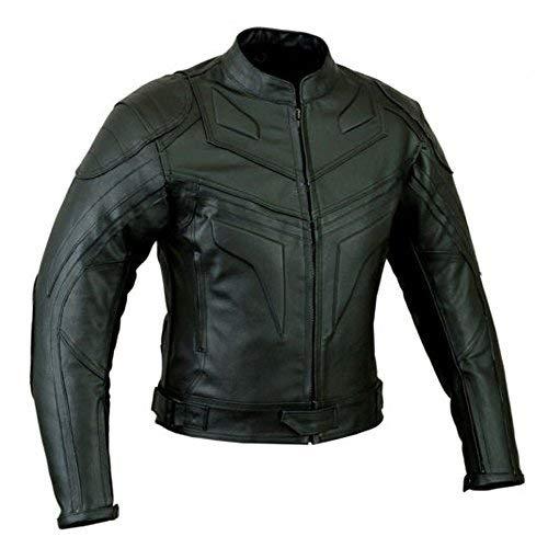 Batman Estilo Hombre Smart Fit Moto Chaqueta de Cuero - Negro, L