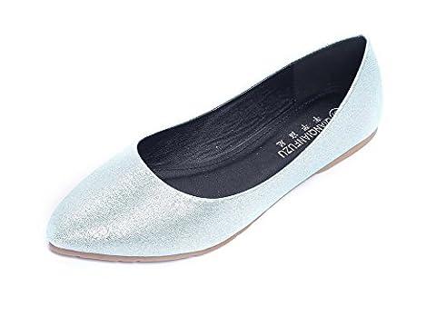 AalarDom Femme Tire Pointu Non Talon Microfibre Couleur Unie Chaussures à Plat, Vert-Pliable, 38.5