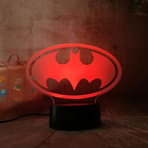 1 PACK, Nouveau 2018 3D LED DC Pour Batman Symbole Lumière Nuit Table De Table De Bureau 7 Changement De Couleur Flashlight USB RGB Controler Jouet Enfants Cadeau