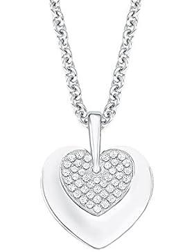s.Oliver Damen-Kette mit Anhänger Herz 925 Silber rhodiniert Zirkonia weiß 45 cm-2012646