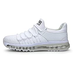 TORISKY Herren Sportschuhe Laufschuhe mit Luftpolster Turnschuhe Air Schuhe Sneaker Rot Schwarz Weiß Grau Blau (8073-White39)