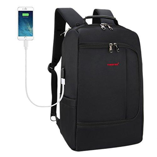 TIGERNU Slim Business-Rucksack mit USB-Ladeanschluss Cabrio weitermachen Reisetasche mit Gepäckträger passt 15 15.6-Zoll-Laptops für Männer Frauen schwarz