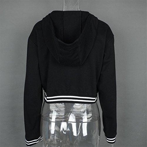 Fami Femmes Loose Casual Hoodie à manches longues, Jumper Pullover Short Tops Noir