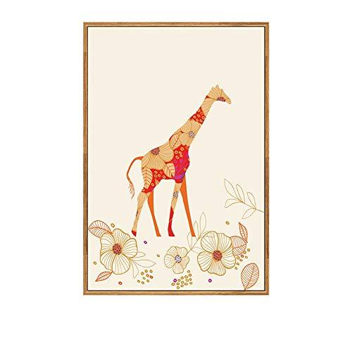 XWArtpic Cartoon hirschwal Giraffe Tier malerei abstrakte Kunst dekor wohnkultur Wohnzimmer Poster wandkunst leinwand malerei 40 * 50cm c