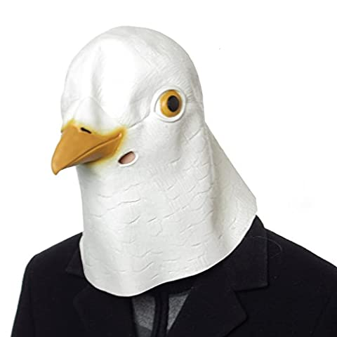Animal Mask Latex White Pigeon Animal Kingdom Adults Full Head