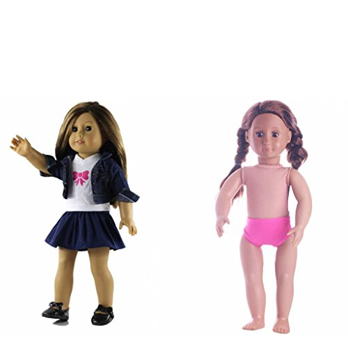 MagiDeal 4PCS Dolls Clothes For 18' American Girl My Life Doll Rose Red Underwear T-Shirt Jeans Top Outfits Pleated Skirt Dress Up Accs