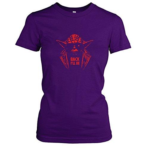 ll Be - Damen T-Shirt, Größe XL, violett (Terminator Sarah Connor Kostüm)
