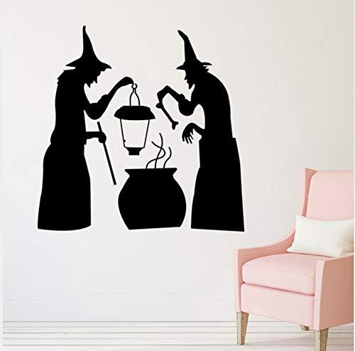 Kinderzimmer Dekoration Für Halloween Hexe Kochen Dekor Wandaufkleber Diy Abnehmbare Vinyl Wandaufkleber 58X58Cm