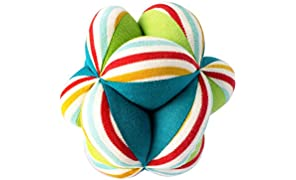 Shumee Colorful Plush Fabric Clutching Ball for Babies (Age 0+) - Textured Developmental Ball with Rattle Inside for Newborns, Infants Sensory and Fine Motor Skills