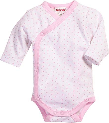 *Schnizler Unisex Baby Wickelbody Sterne Langarm, Oeko Tex Standard 100 Body, Rosa (Weiß/Rose 586), 50*